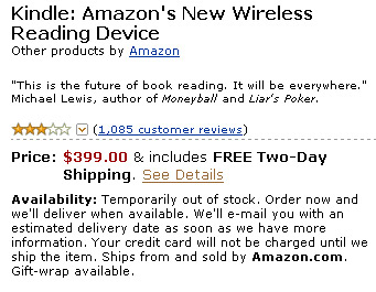 Kindle Sold Out in 5.5hrs