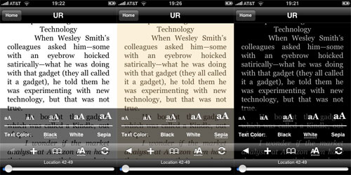 Kindle For iPhone Color Schemes