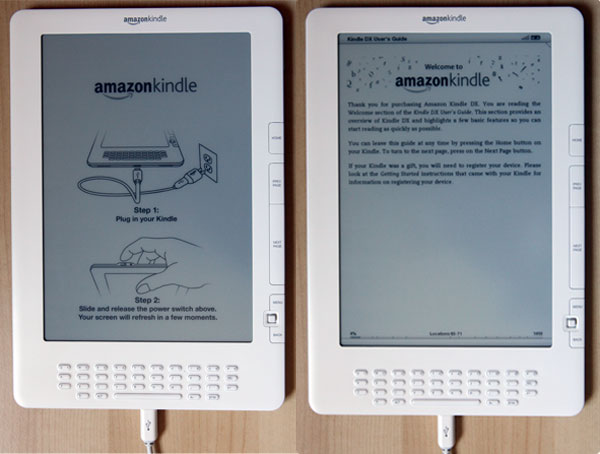 Kindle DX power up