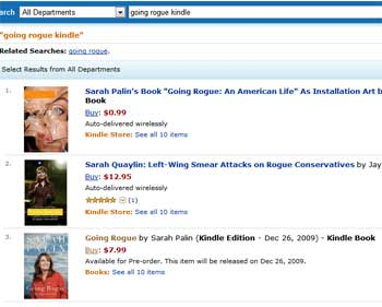 "Amazon.com ""going rogue kindle"" search"
