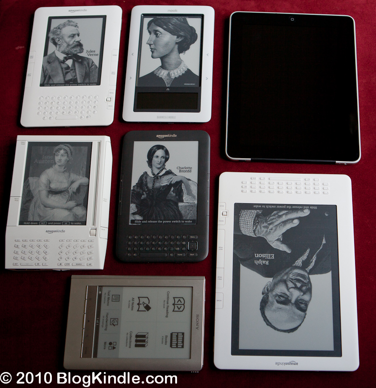 eReader Comparison: Kindle 2, Nook, iPad, Kindle 1, Kindle 3, Kindle DX, Sony PRS-600
