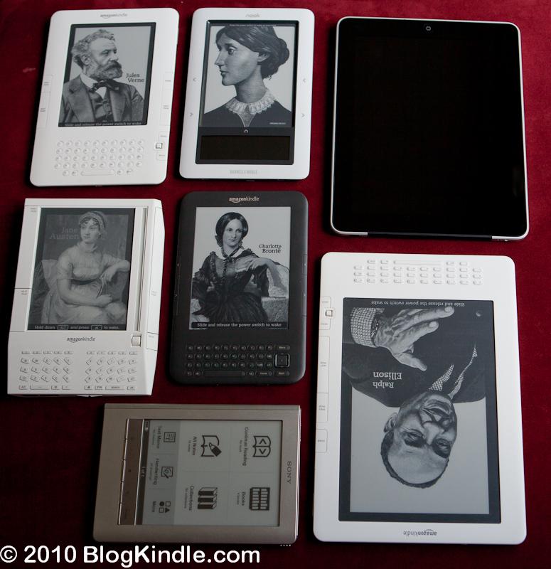 eReader Comparison: Kindle 2, Nook, iPad, Kindle 1, Kindle 3, Kindle DX, Sony PRS-600