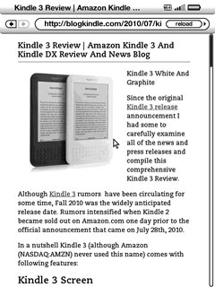 Kindle 3 Browser Article Mode