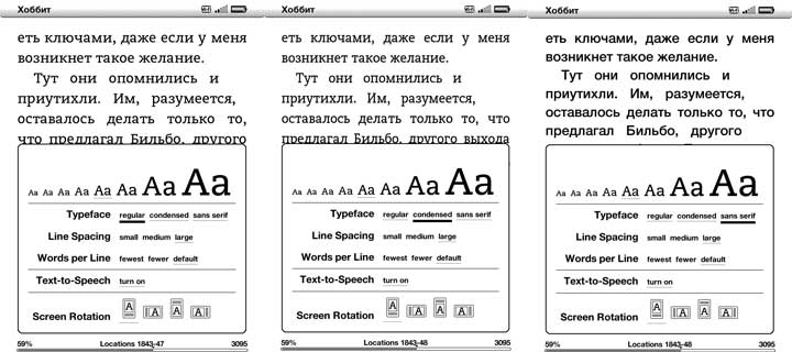 Kindle 3 Russian Typefaces