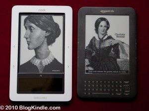 Kindle 3 vs Barnes and Noble Nook side by side