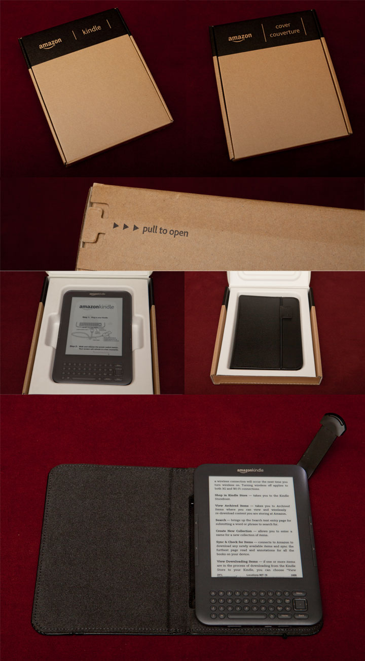 Latest Generation Kindle 3 and Lighted Leather Cover Unboxed