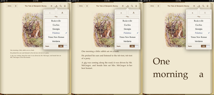 Apple iPad iBooks Font Sizes
