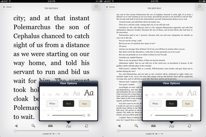 Kindle for iPad Font Sizes